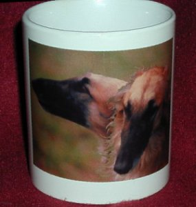 [Mug with     pictures of the black masked cream Borzoi Sox]